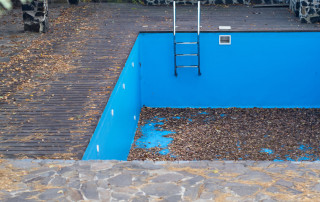 autumn fallen leaves in an empty swimming pool