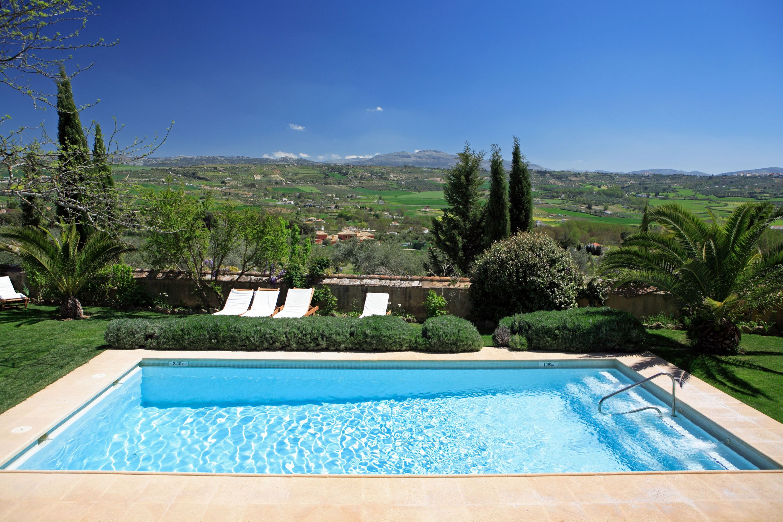 2220279 - large rustic hotel and swimming pool set in beautiful gardens in the spanish countryside with stunning views over the fields below