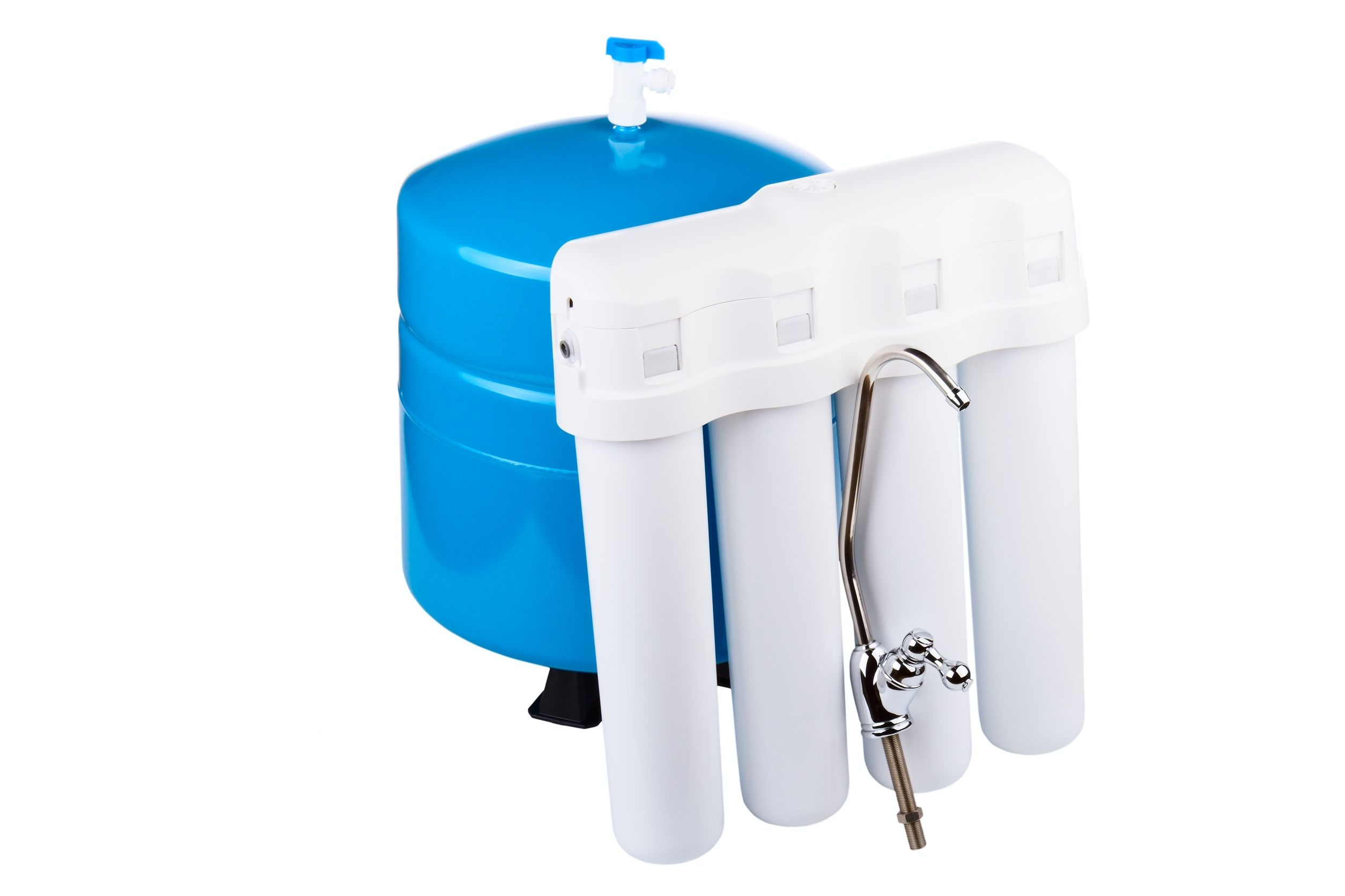 12469979 - system of a filtration of potable water isolated on a white background