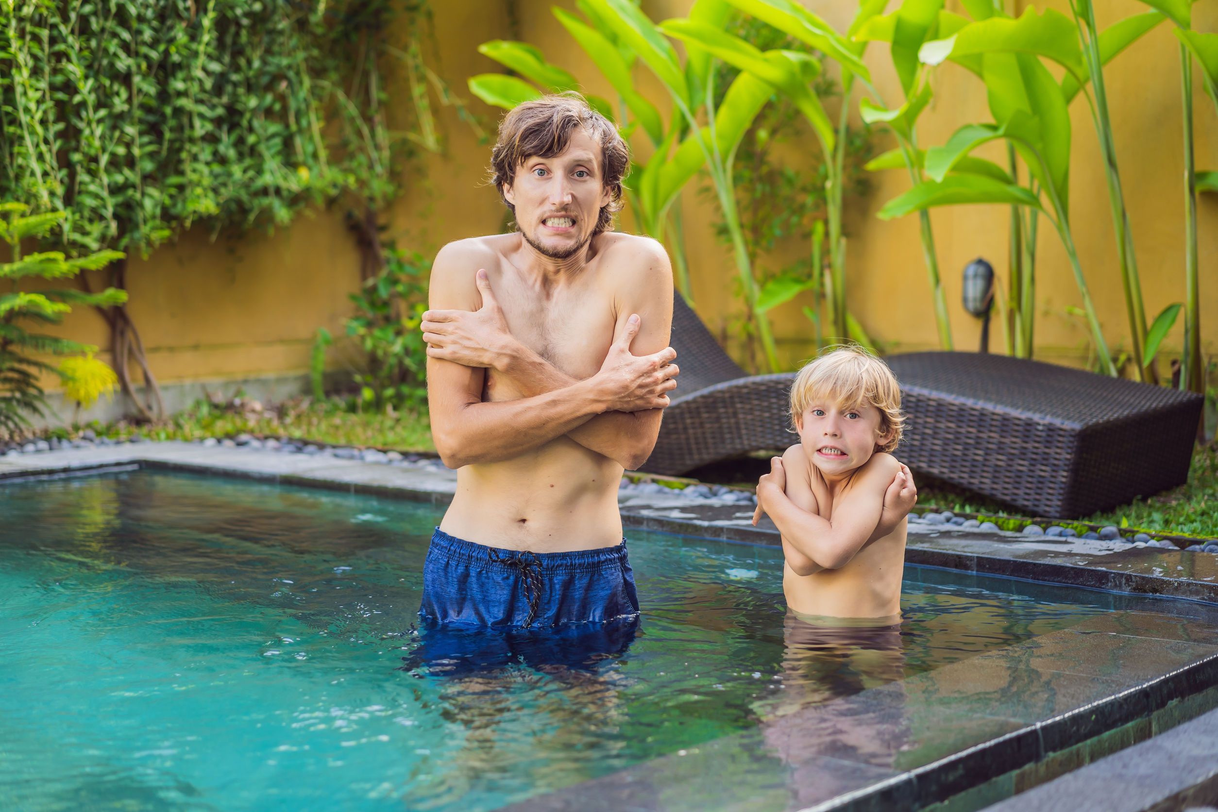 Dad and son was frozen in the pool. Very cold water in the pool. Need heated water.