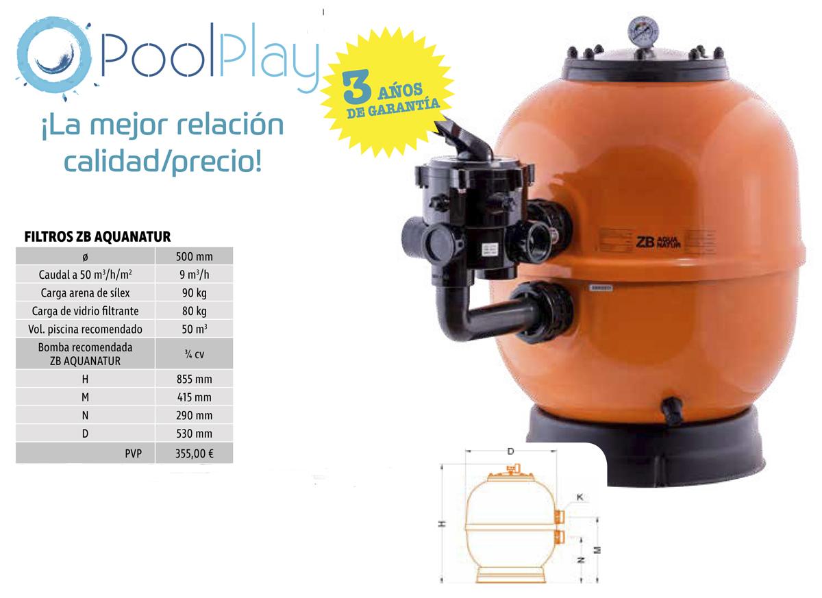 Filtro laminado Aquanatur 500 mm para el mantenimento de piscinas