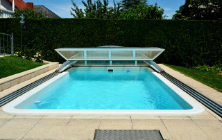 91351593 - private swimming pool at home with swimming pool roofing sheet