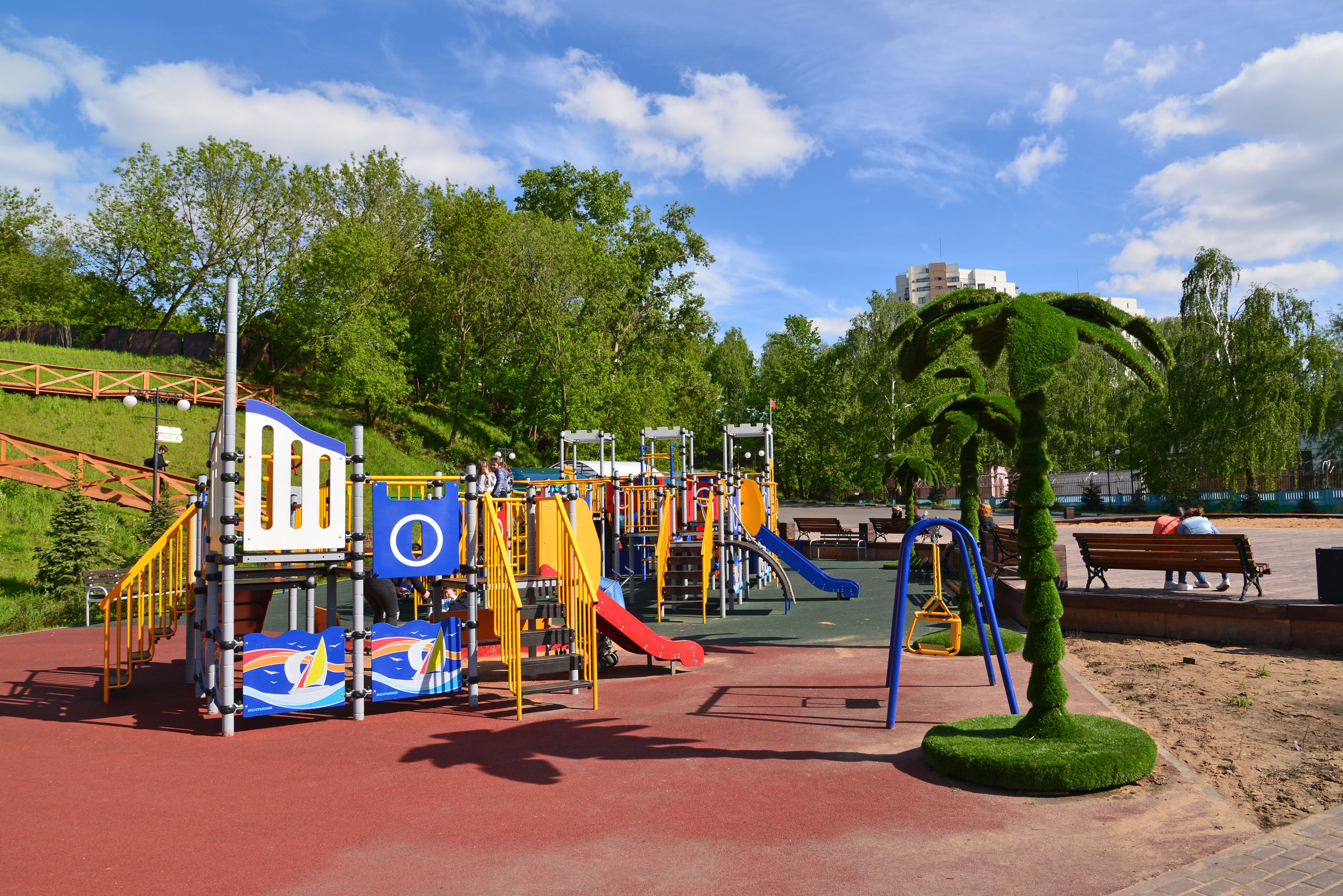 Khimki, Russia - May 30.2017 childrens playground in the park on the left bank